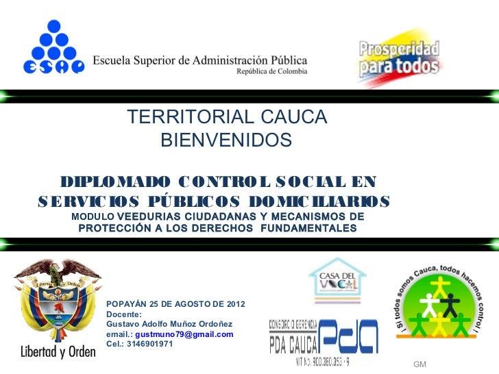 TERRITORIAL CAUCA               BIENVENIDOS   DIPLOMADO C ONTROL S OC IAL ENS ERVIC IOS PÚBLIC OS DOMIC ILIARIOS   MODULO ...