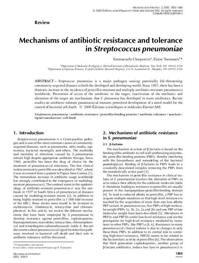 Review Mechanisms of antibiotic resistance and tolerance in Streptococcus pneumoniae Emmanuelle Charpentiera , Elaine Tuom...