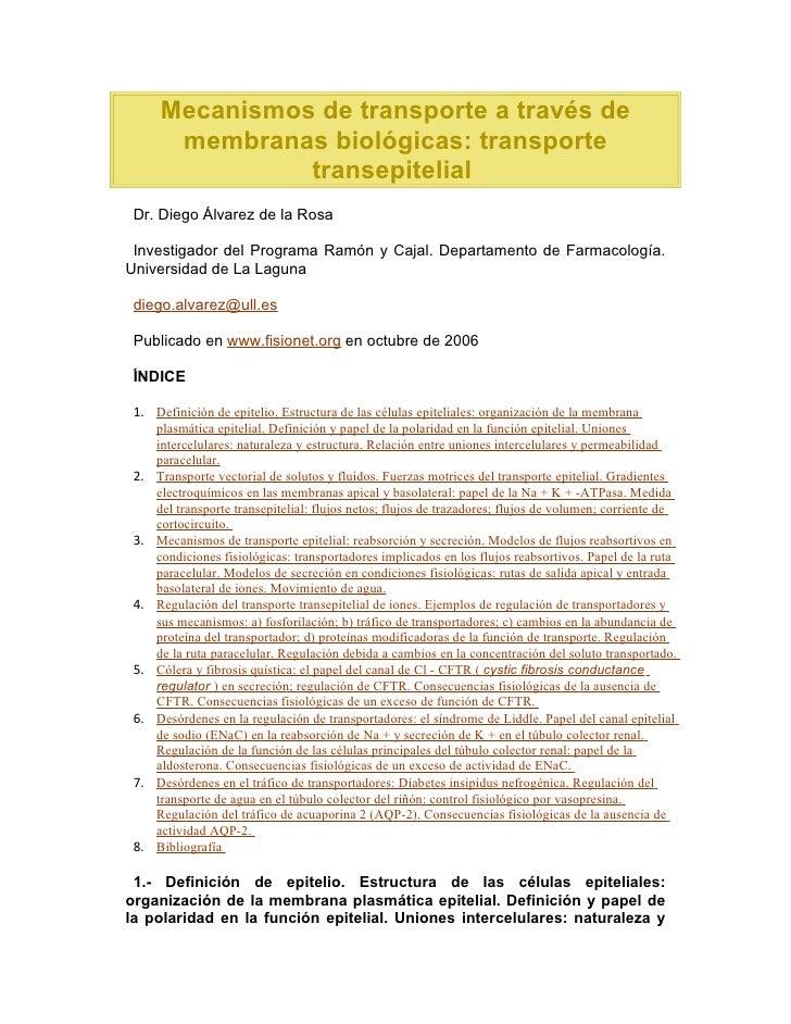 Mecanismos de transporte a través de membranas biológicas