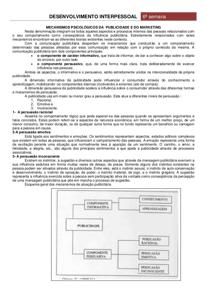 DESENVOLVIMENTO INTERPESSOAL                               6ª semana                       MECANISMOS PSICOLÓGICOS DA PUBL...