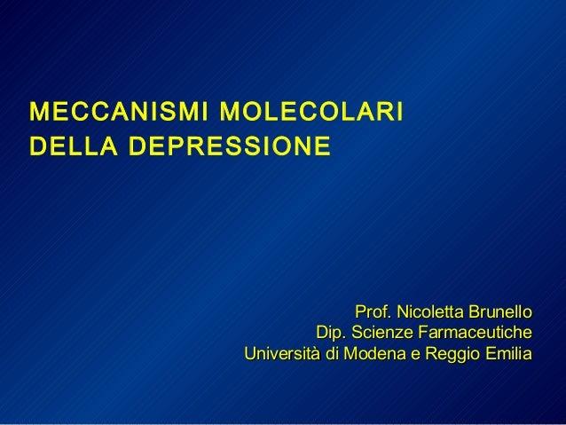 MECCANISMI MOLECOLARI DELLA DEPRESSIONE Prof. Nicoletta BrunelloProf. Nicoletta Brunello Dip. Scienze FarmaceuticheDip. Sc...
