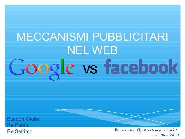 MECCANISMI PUBBLICITARINEL WEBBusdon GiuliaRe PaolaRe Settimo Strum e nti e Applicazio ni pe r ilWe ba. a. 20 1 2/20 1 3