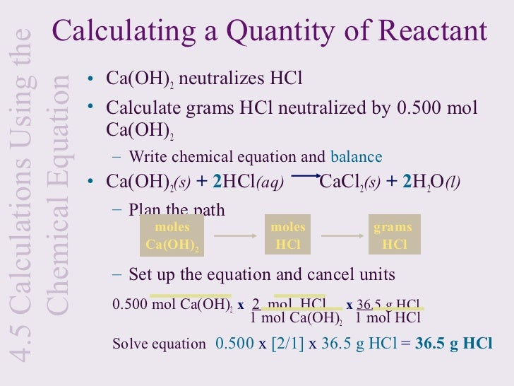 1g cacl2 2h2o x 1 mol cacl2 2h2o In order to calculate this first we need to write the balanced equation of the reaction, which would be: ca(oh)2 + 2hcl --- cacl2 + 2h2o now we.