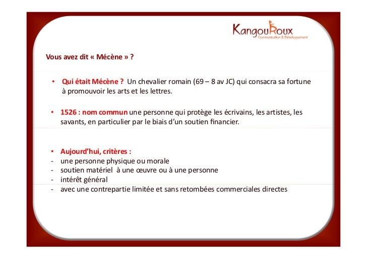 Mecenat KangouRoux_formation_du_24_avril_2012 Slide 3