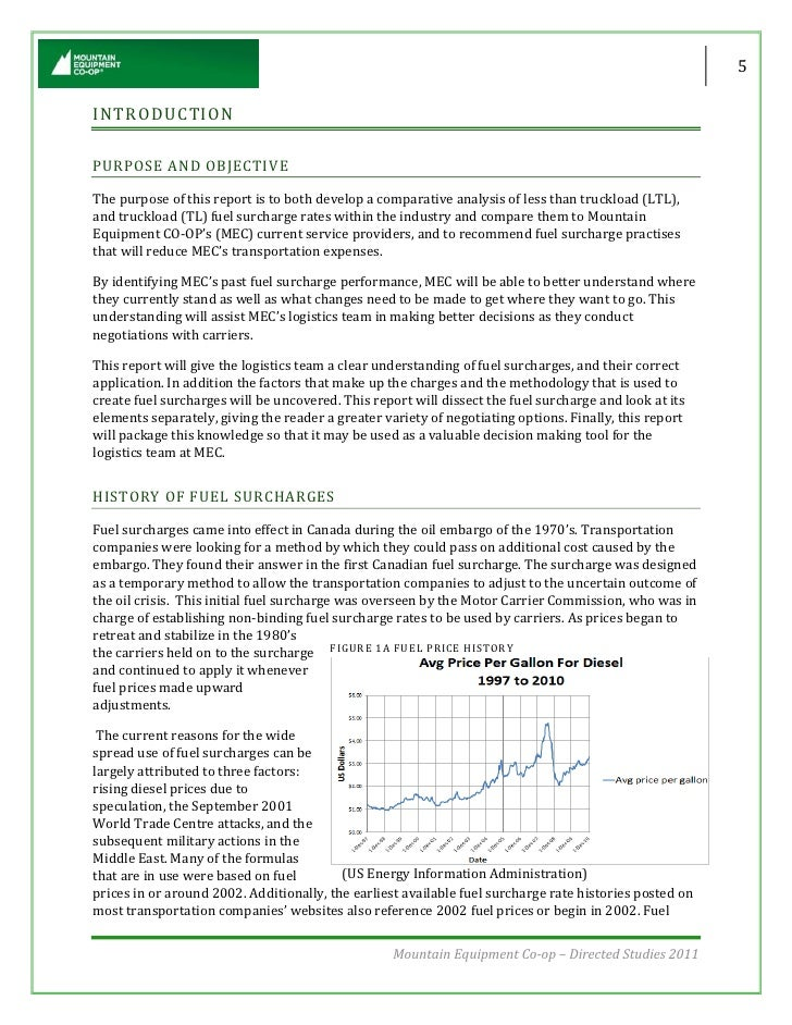Fuel Surcharge Performance Report - What is fuel surcharge