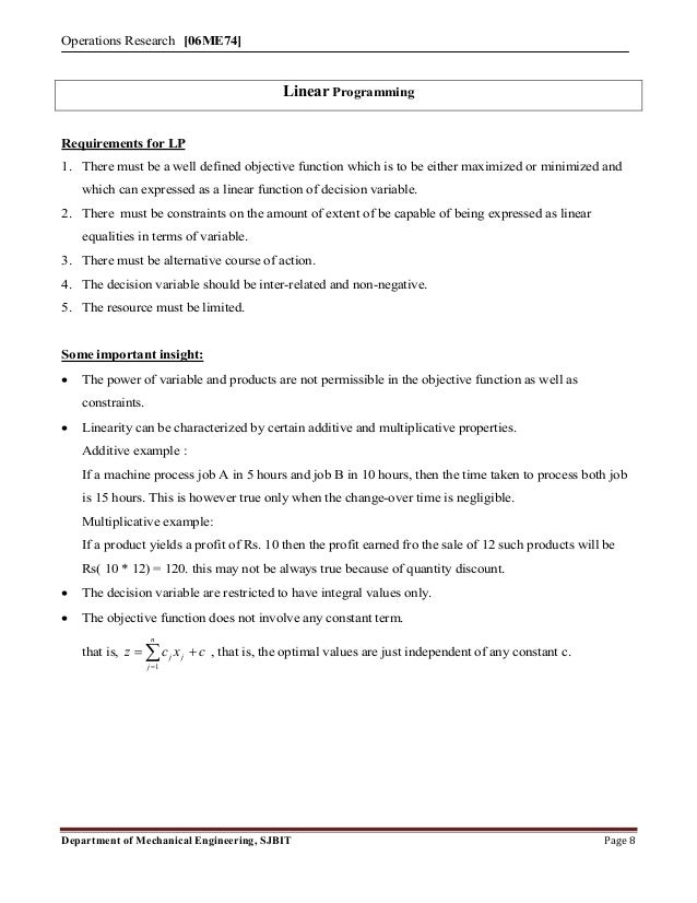 Mech vii-operation research [06 me74]-notes