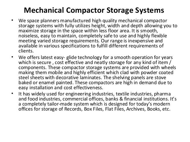 Mechanical Compactor Storage Systems • We space planners manufactured high quality mechanical compactor storage systems wi...
