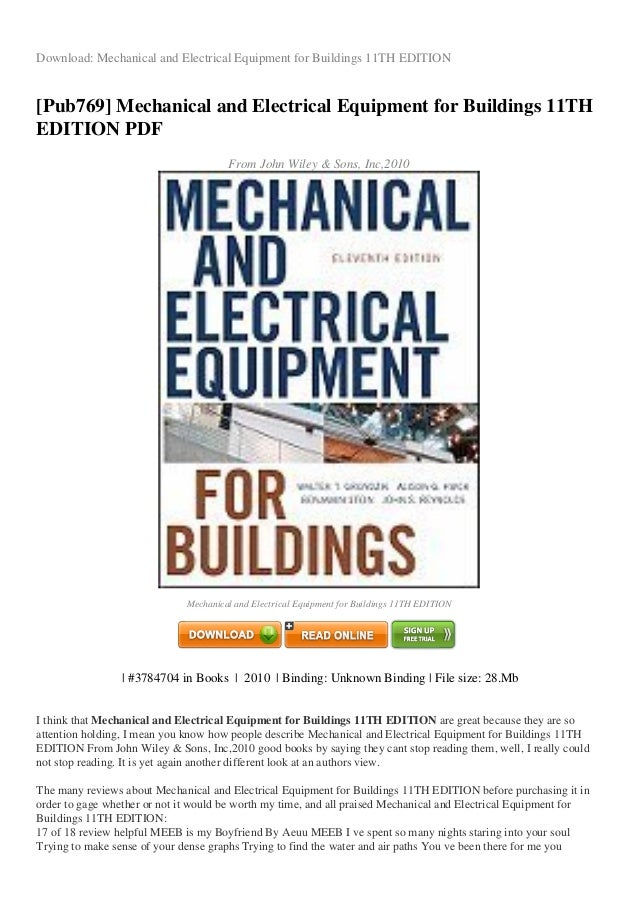 Buildings 11th equipment and pdf for edition mechanical electrical