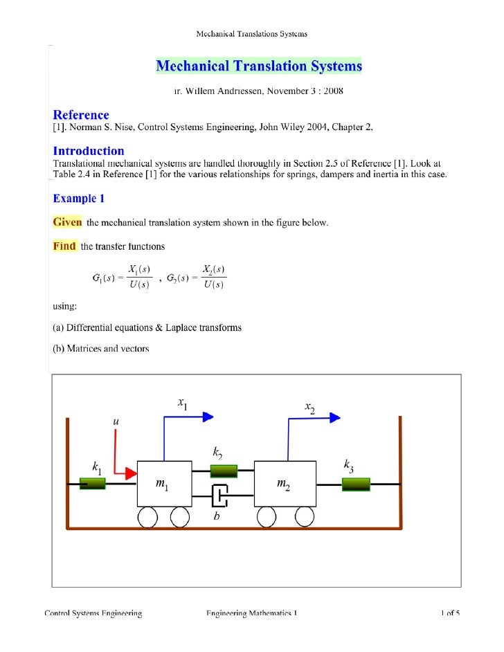 Mechanical Translations Systems    Solution   First, notice that this is the same system as used in Example 2.17 of Refere...