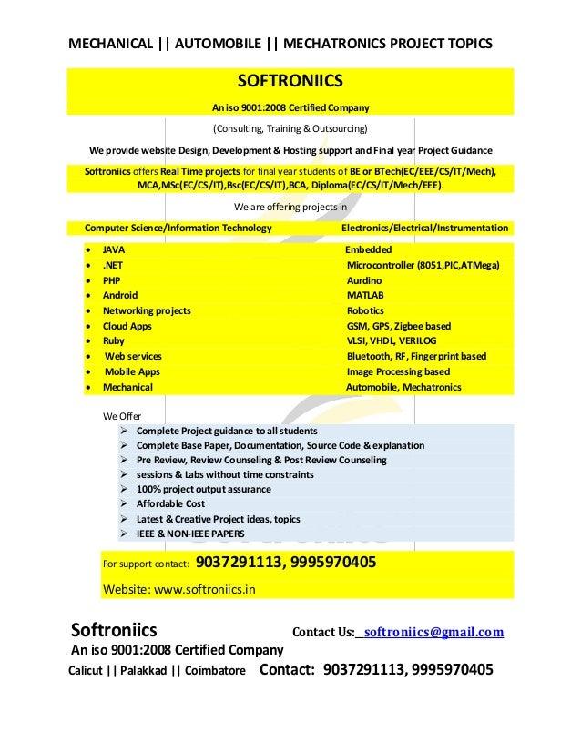 Mechanical automobile mechatronics project titles softroniics