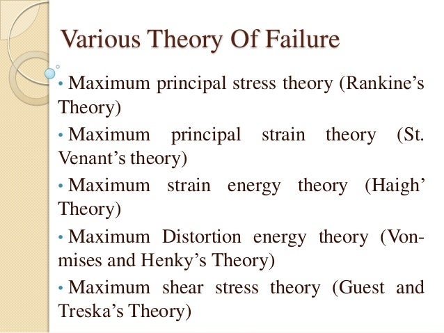 failure theories Solid mechanics: failure criteria failure criteria for ductile materials maximum shear stress this theory is more conservative than the von mises criterion since it lies inside the von mises ellipse.