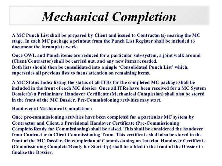 Mechanical completions for What is a punch out list