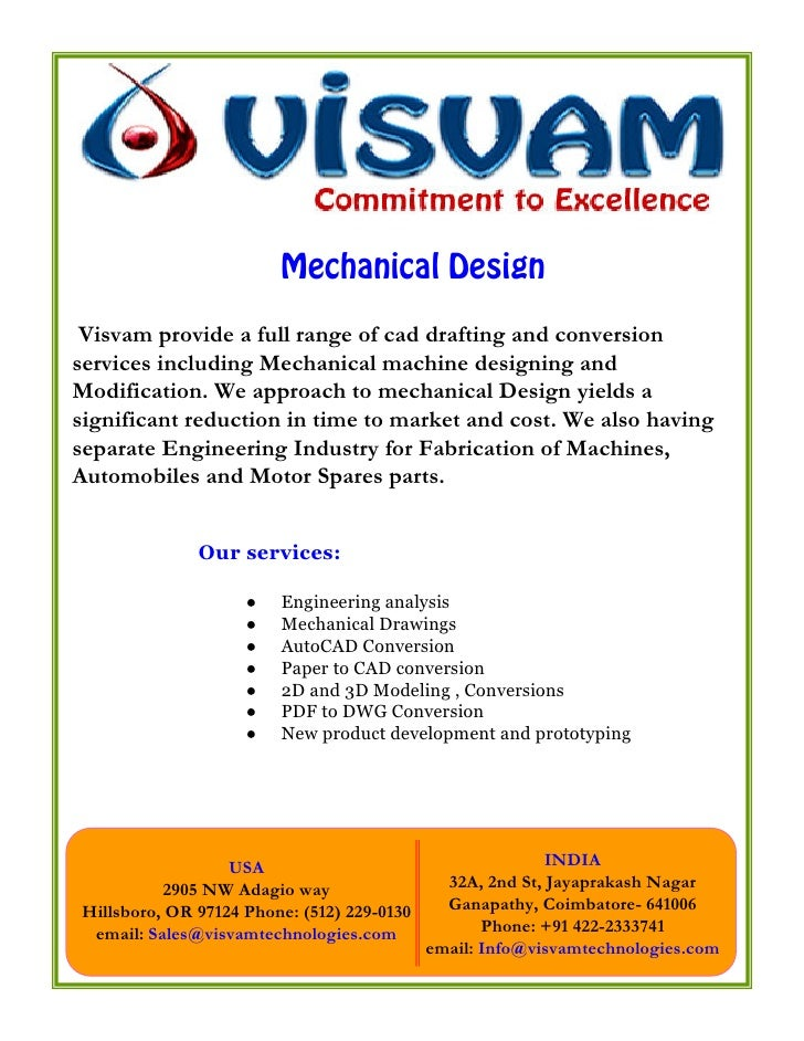 Mechanical Design   Visvam provide a full range of cad drafting and conversion services including Mechanical machine desig...