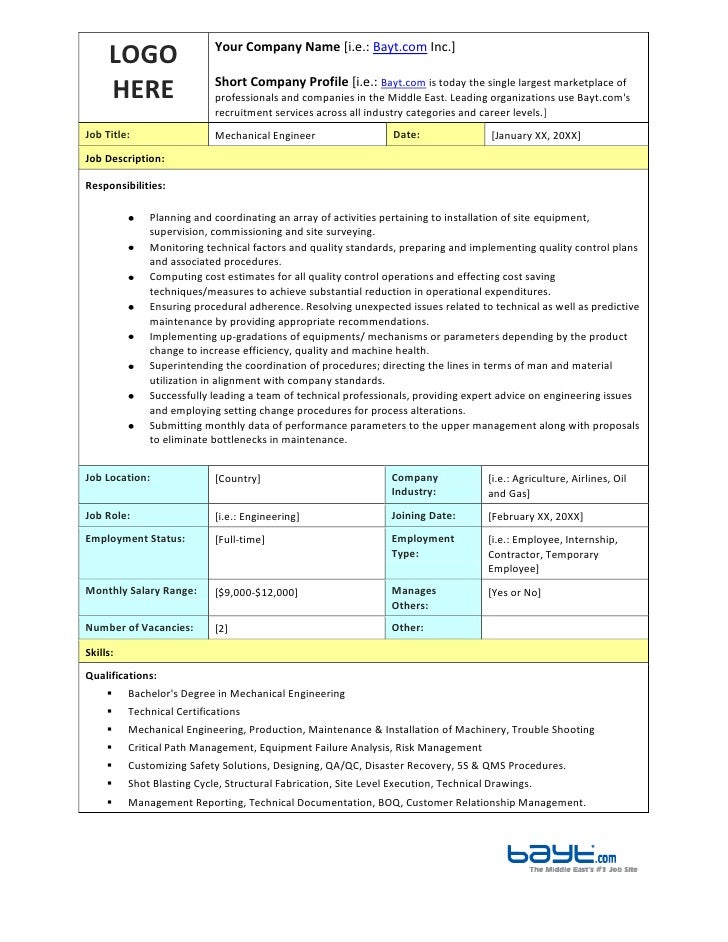 Mechanical Engineer Job Description Template By BaytCom