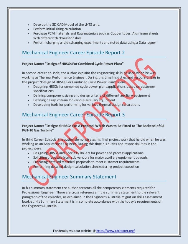 Mechanical Engineer Cdr Report Sample Anzsco Code 233512