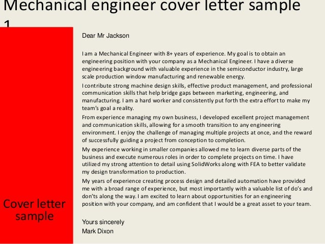 Cover Letter For Cv Mechanical Engineer