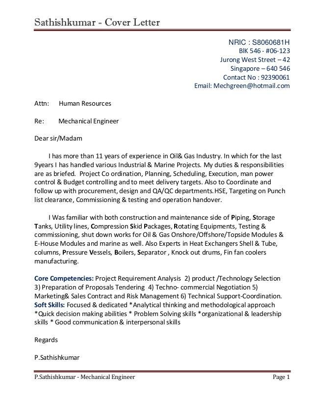 Delightful Sathishkumar   Cover Letter P.Sathishkumar   Mechanical Engineer Page 1  NRIC : S8060681H BlK