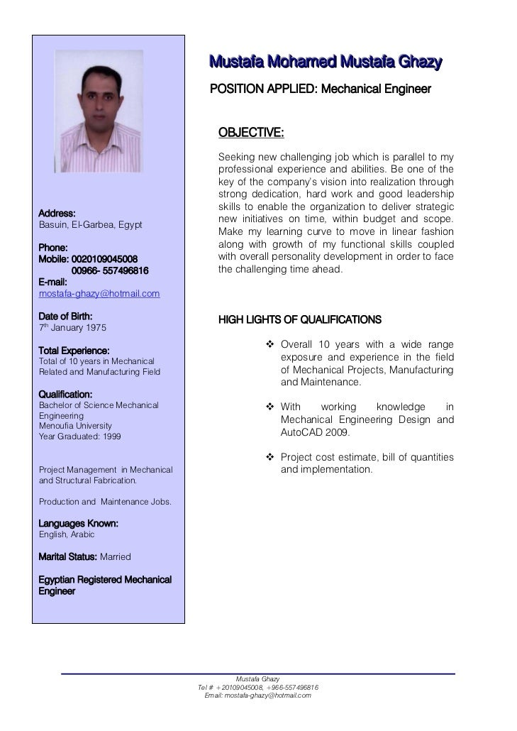 mechanical engineer cv musttaffa mohamed musttaffa ghazy - Experienced Mechanical Engineer Sample Resume
