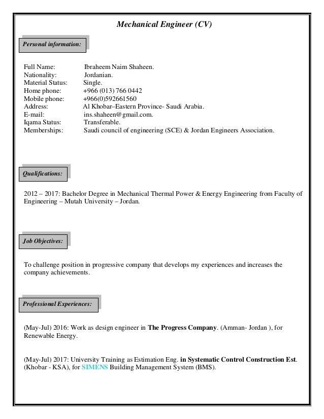 Mechanical engineer cv ( ibraheem shaheen )