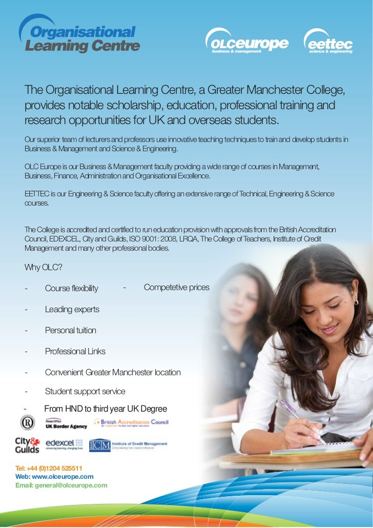 The Organisational Learning Centre, a Greater Manchester College,  provides notable scholarship, education, professional t...