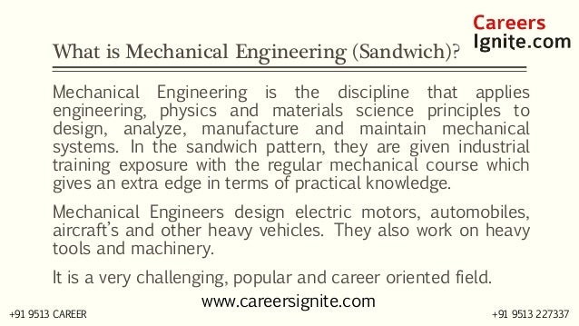 Mechanical Engineering (Sandwich) Courses, Colleges, Eligibility Slide 2