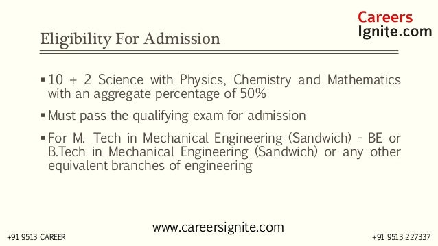 Mechanical Engineering (Sandwich) Courses, Colleges, Eligibility Slide 3