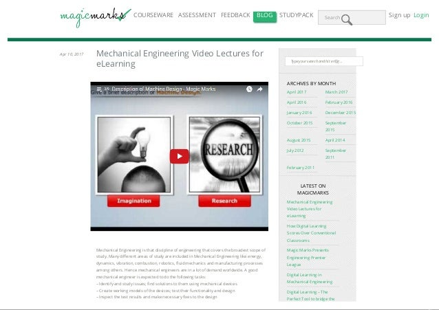 Mechanical engineering video lectures for e learning