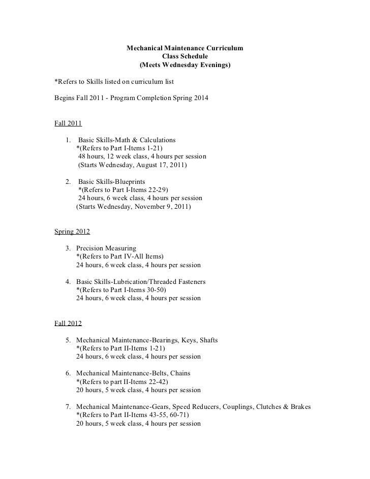 Mechanical Maintenance Curriculum                                    Class Schedule                             (Meets Wed...