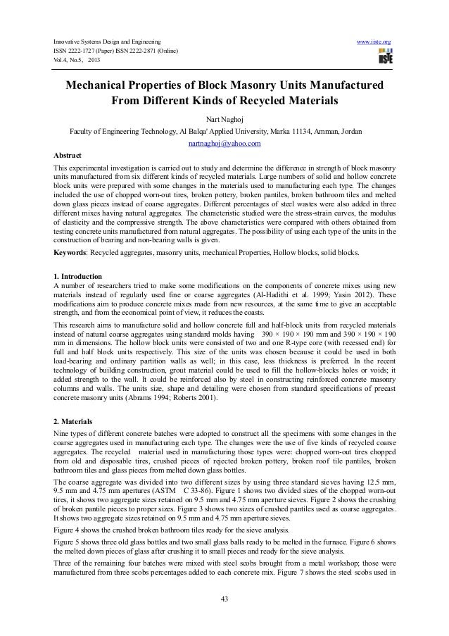 Mechanical Properties Of Block Masonry Units Manufactured