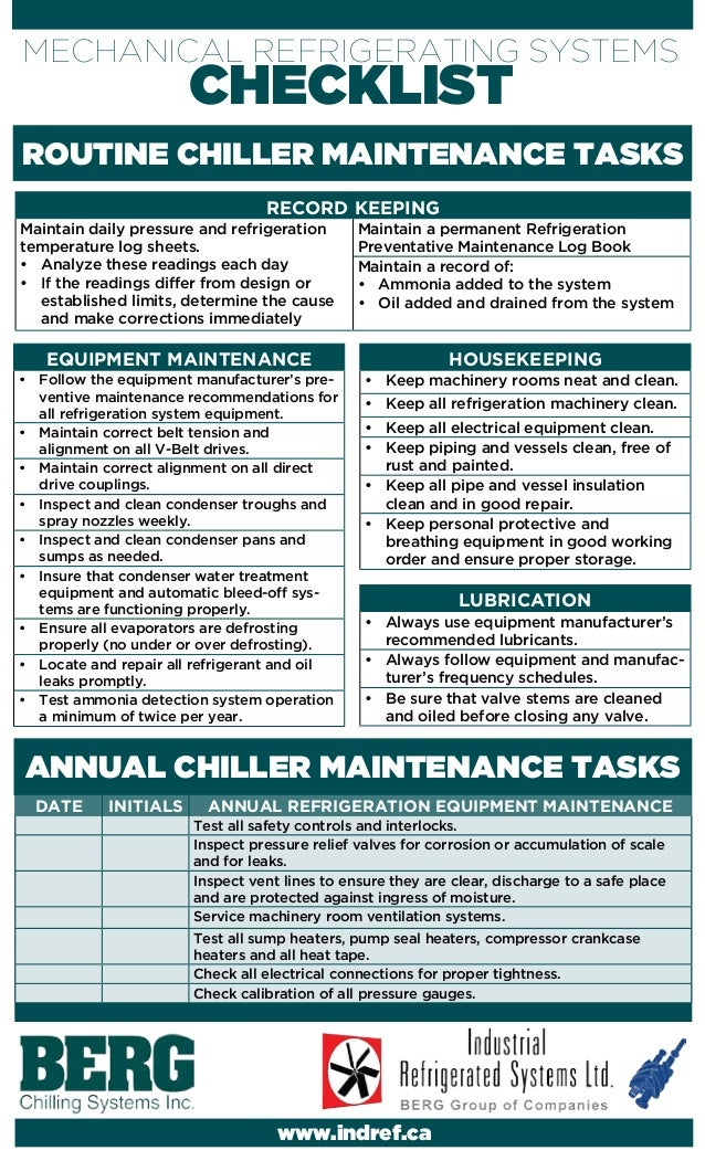 DATE INITIALS ANNUAL REFRIGERATION EQUIPMENT MAINTENANCE Test all safety controls and interlocks. Inspect pressure relief ...