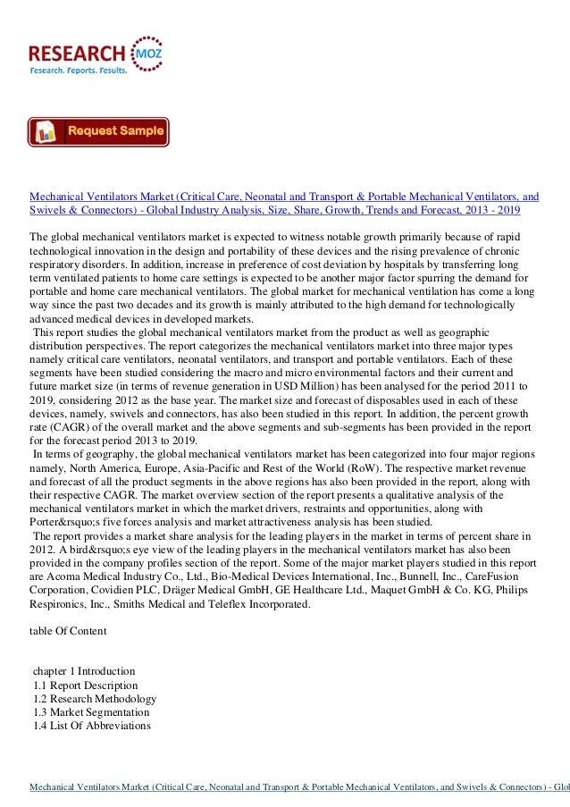 Mechanical Ventilators Market (Critical Care, Neonatal and Transport & Portable Mechanical Ventilators, and Swivels & Conn...