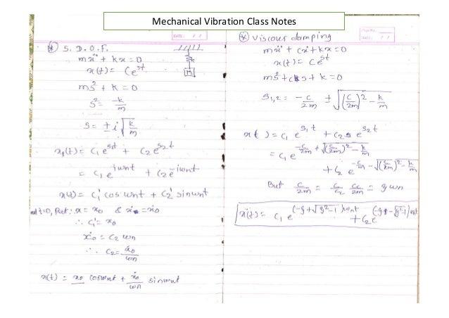 mechanical vibration notes rh slideshare net