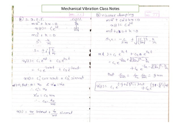 Mechanical vibrations notes Homework Academic Service