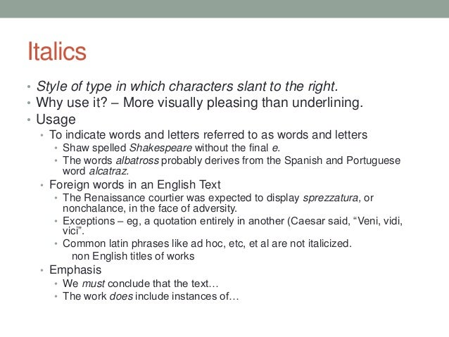 Italicised words in an essay
