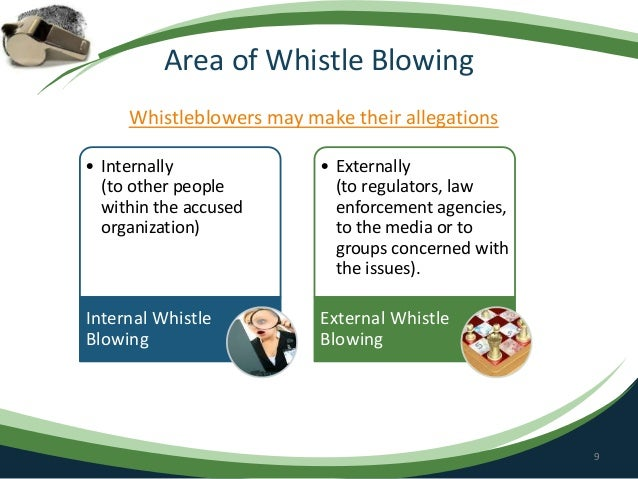 whistle blowing in organization More importantly, whistle blowing can protect the organization's clients for example, if a hospital employs a number of negligent staff members, other.