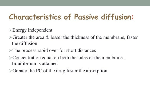 But this is not the case……The passively absorbed drug enters blood, rapidly swept away & distributed into a larger volume...
