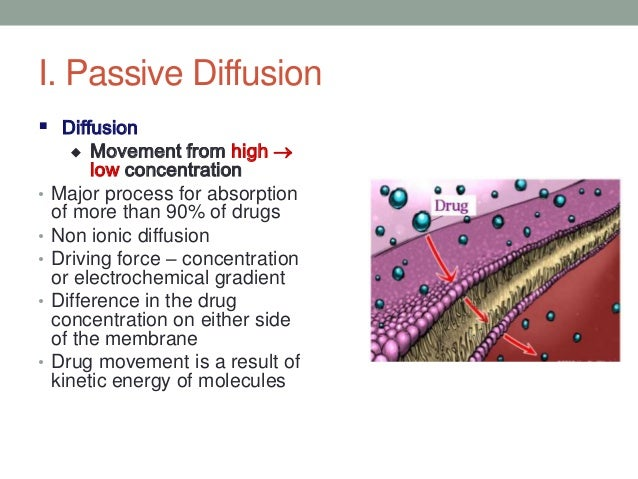 I. Passive Diffusion Diffusion        Movement from high          low concentration•   Major process for absorption    ...