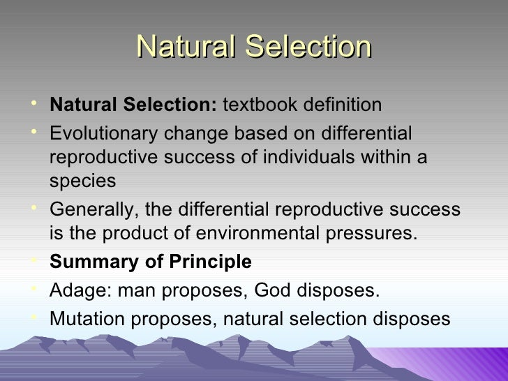 Is Natural Selection Chance Variation
