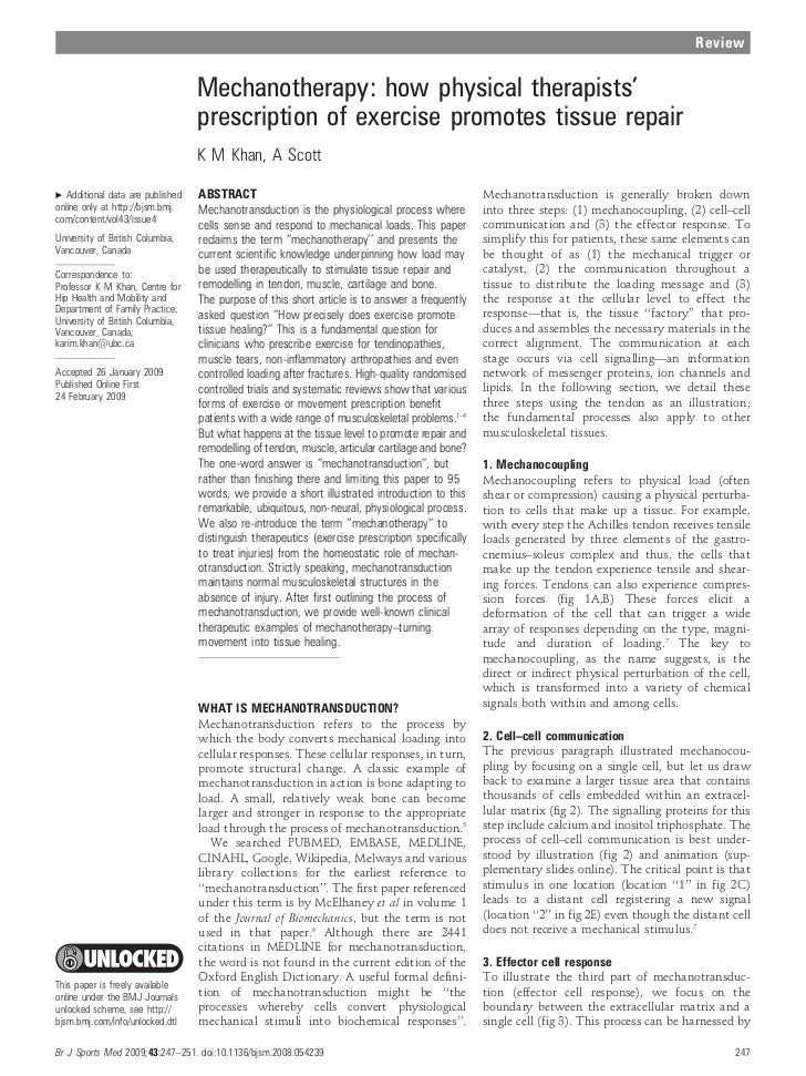Review                                  Mechanotherapy: how physical therapists'                                  prescrip...