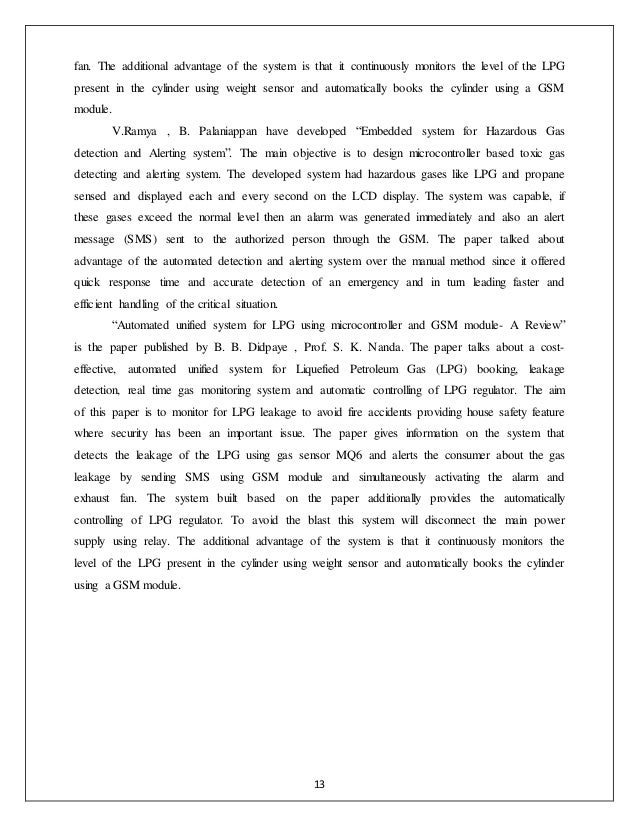 lpg gas leakage detector project report pdf
