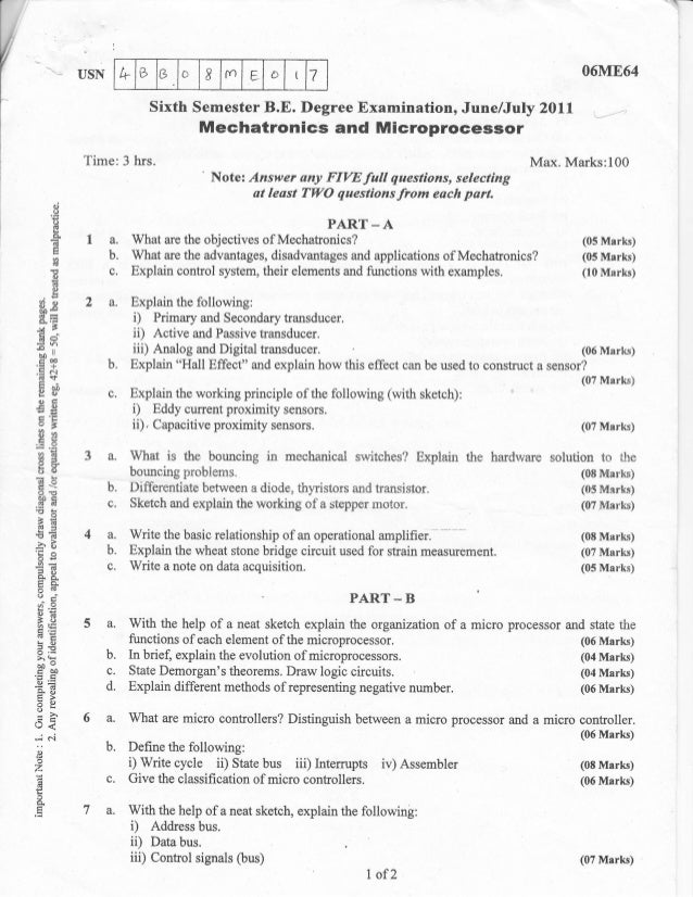 Mechatronics and microprocessor Question papers