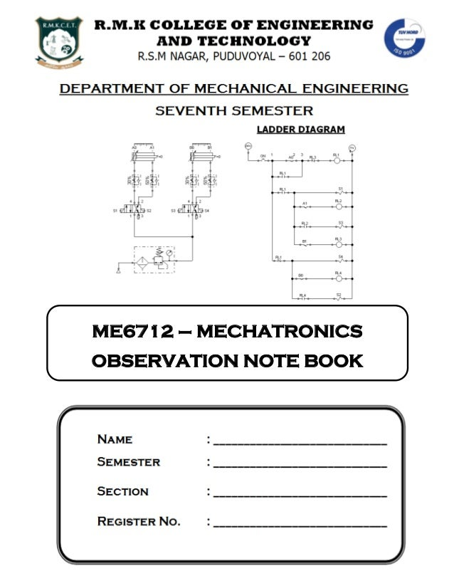 ME6712 – MECHATRONICS OBSERVATION NOTE BOOK