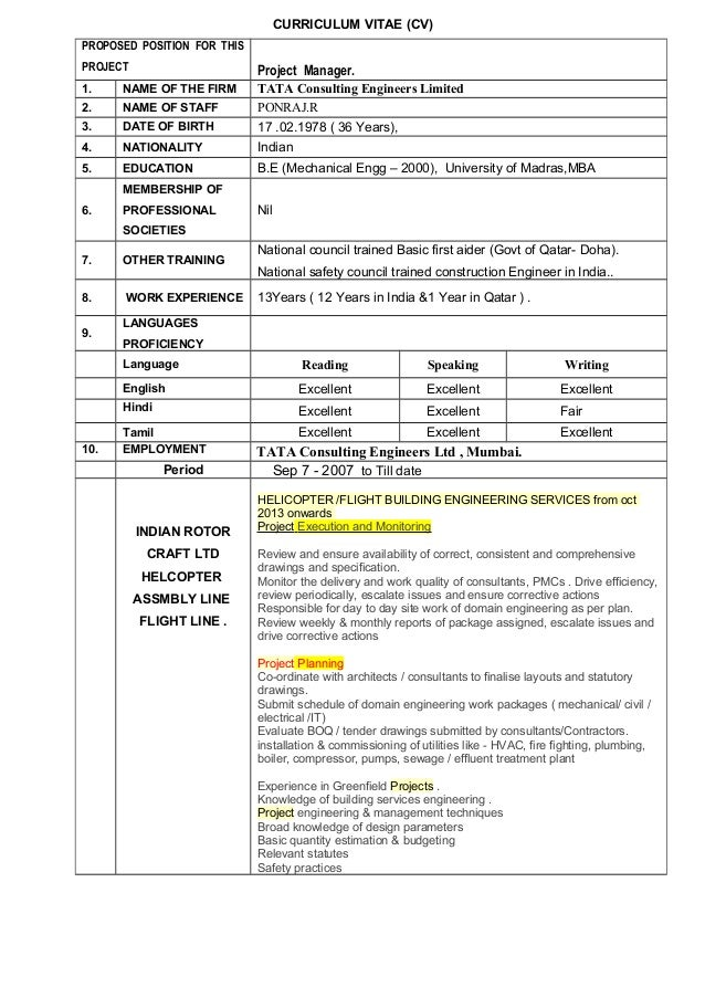 CURRICULUM VITAE (CV) PROPOSED POSITION FOR THIS PROJECT  Project Manager.  1.  NAME OF THE FIRM  2.  NAME OF STAFF  3.  D...