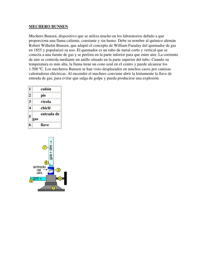 MECHERO BUNSENMechero Bunsen, dispositivo que se utiliza mucho en los laboratorios debido a queproporciona una llama calie...