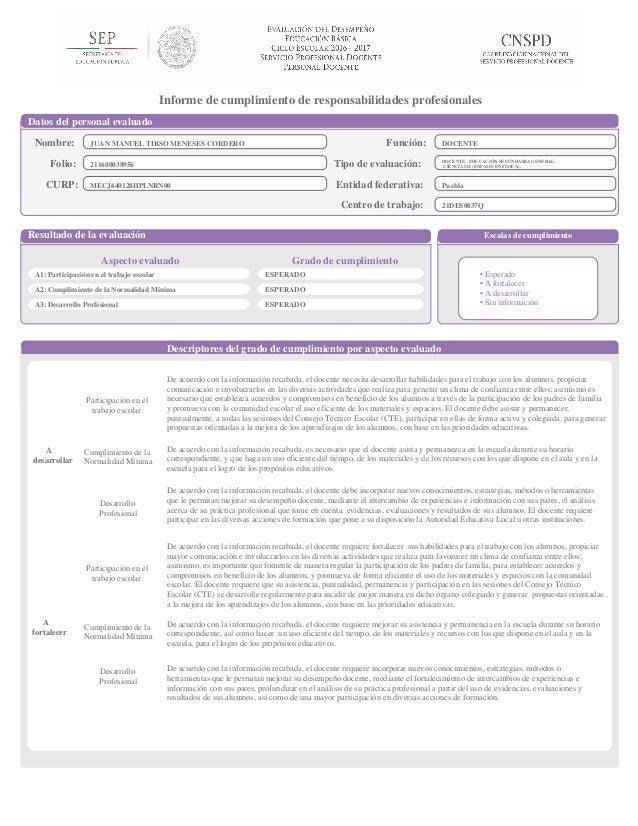 Informe de cumplimiento de responsabilidades profesionales Datos del personal evaluado Nombre: JUAN MANUEL TIRSO MENESES C...