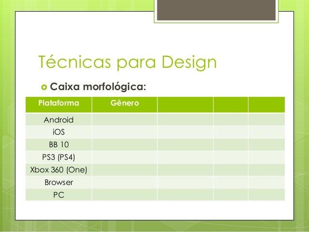 Técnicas para Design  Caixa  morfológica:  Plataforma Android iOS BB 10  PS3 (PS4) Xbox 360 (One) Browser PC  Gênero