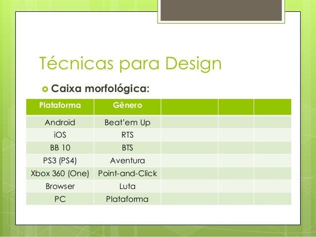 Técnicas para Design  Caixa  morfológica:  Plataforma  Gênero  Android  Beat'em Up  iOS  RTS  BB 10  BTS  PS3 (PS4)  Aven...
