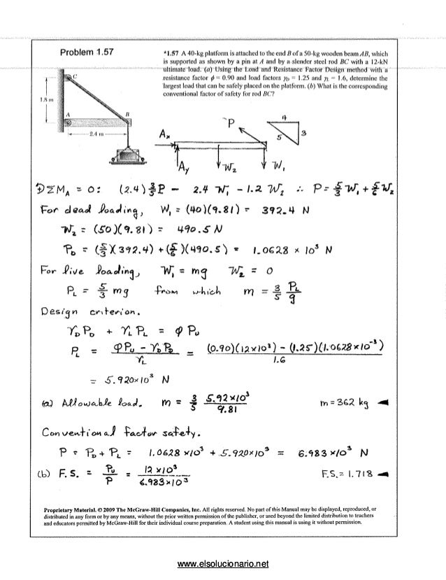 Mecánica de materiales beer, johnston - 5ed solucionario