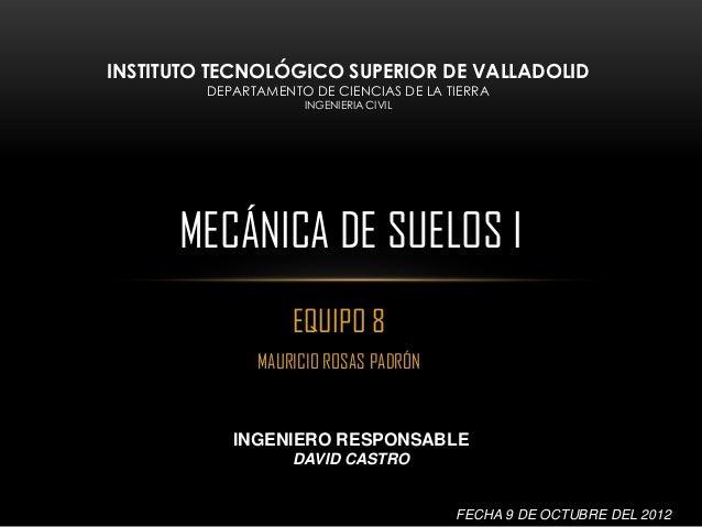 INSTITUTO TECNOLÓGICO SUPERIOR DE VALLADOLID         DEPARTAMENTO DE CIENCIAS DE LA TIERRA                     INGENIERIA ...