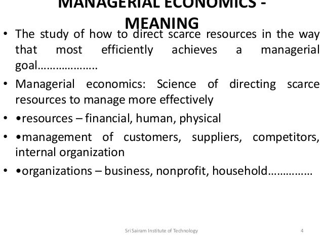 Economics management accounting finance